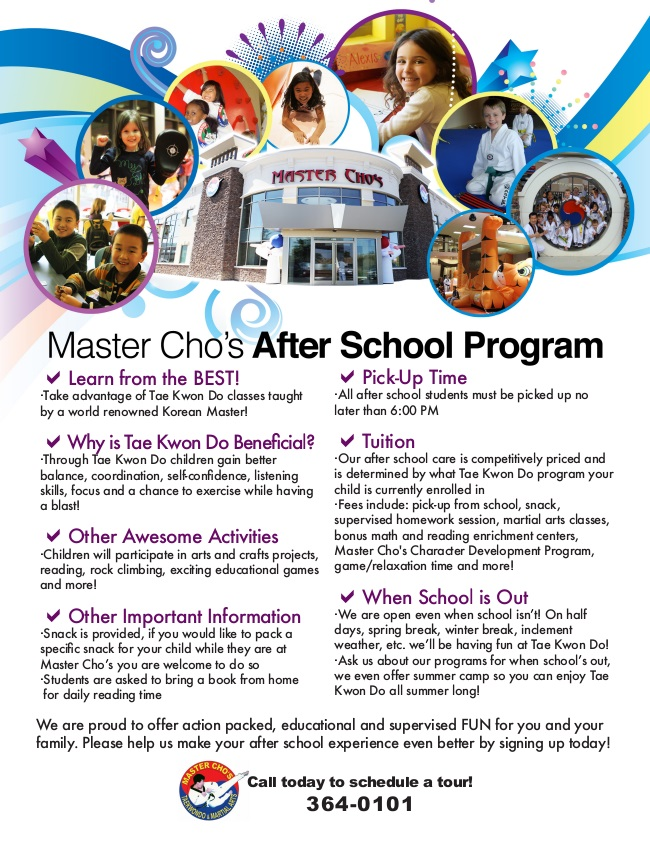 Picture - flyer for Master Cho's Martial Arts Camp - serving Glen Allen and Richmond VA